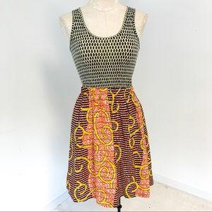 Anthropologie S Silk African Print Sundress Black